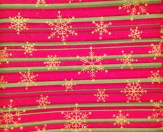 Red with green stripe and gold snowflakes fabric, Christmas fabric, holiday fabric, quilting fabric, sewing fabric, gold specks, starbursts