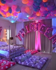 Can we be Thirteen again???!!!!! A little girls dream SlumberParty!! Gorgeous Balloon work by @maggiecreativedesign   Lighting by @tavspro…