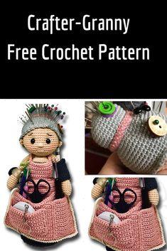 Crochet Pincushion Crafter Granny - Adorable Amirugumi Doll Free Crochet Pattern