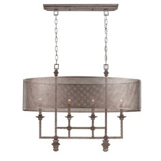 Mesh Screen Shade Chandelier from Shades of Light.  This one is really cool.  They say it blends styles of industrial, modern and transitional - 34 1/2 inches wide.