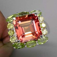 6 Ct Padparadsha Sapphire and Peridot and Yellow Sapphire Ring #engagementrings #jewelry #pricepointshop