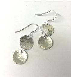 30mm sterling silver hammered disc drop earrings