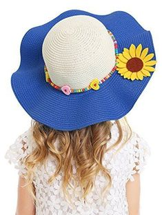 Kids Multi-Colors Large Brim Flower Beach Sun Hats Girls  Accessories Kids   Accs 599da1e26dfd
