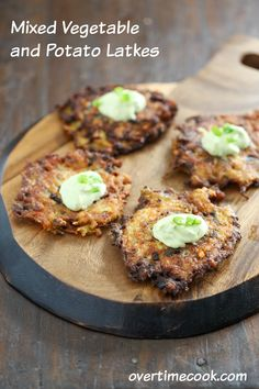 Mixed Vegetable and Potato Latkes are a perfect Hanukkah compromise. Potato Latke for purists, vegetable latkes for the other folks. It's sure to please!