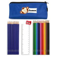Blue Monkey Pencil Case & Contents | Personalise | Absolutely Adorable