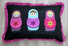 Matryoshka Appliqued Pillow Cover Black Felt with Pink by sesideco, $43.00