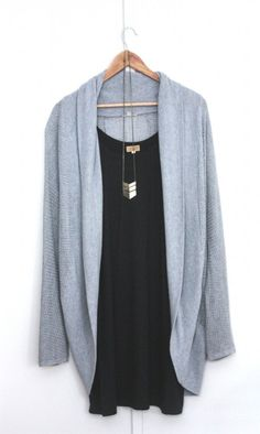 by Nice2BNice || Will always love a sleeveless top + long necklace + cardigan combo. Black and powder blue are NOT my thing, but the fit is great.