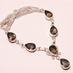 26 GM MARVEOUS FACETED SMOKY TOPAZ .925 STERLING SILVER NECKLACE #Handmade