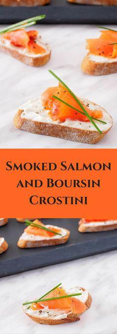 Smoked Salmon and Boursin Crostini – Sweet and Savoury Pursuits Salmon Recipes, Seafood Recipes, Appetizer Recipes, Cooking Recipes, Salmon Food, Salmon Dishes, Cooking Ideas, Food Ideas, Snack Recipes