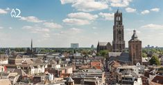 size: Photographic Print: Aerial Cityscape of Medieval City Utrecht, Fourth City of the Netherlands by kruwt : New Amsterdam, Unique Architecture, Utrecht, Roman Empire, Historical Sites, San Francisco Skyline, New York Skyline, Medieval, Places To Go