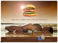 """Burger ad: """"passion is hunger only a big one can satisfy"""" Women as meat and telling men that all women want is a big penis. The debauchery of the fast food industry. Reservoir Dogs, Reproductive Rights, Life Purpose, Marketing, World Best Photos, Pulp Fiction, Body Image, Sexy, Children"""