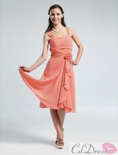 Okay ladies, if this comes in the right color, this just might be it. LOVE this dress!!  A-line Straps Knee-length Chiffon Bridesmaid Dress - Bridesmaid Dresses - Wedding Party Dresses - CDdress.com