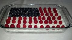 Patriotic cake! 1brownie fudge mix, block of cream cheese and cool whip and fruits. Voila!!!!