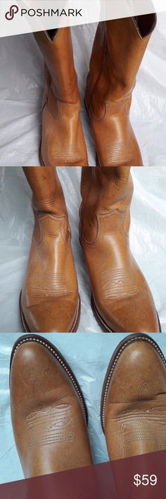 Frye Men's Riding Boots Leather Tan Cowboy Western Frye Men's Riding Boots Leather Tan Cowboy Western Boots Men's 9.5 Made in USA. Boots have some stains as seen on pictures and a little scratch near toe. Frye Shoes Boots