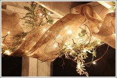 Interesting idea for Christmas outdoor decor.decorating a porch with burlap ribbon, home decor, outdoor living, porches, The best part of this project is the way it looks in the evening Diy Christmas Lights, Christmas Porch, Outdoor Christmas, Country Christmas, All Things Christmas, Christmas Holidays, Christmas Crafts, Christmas Decorations, Holiday Decor
