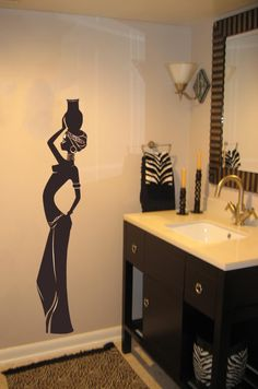 african wall art | ... about Beautiful tribal African Girl Vinyl Wall Art Big Decal Sticker