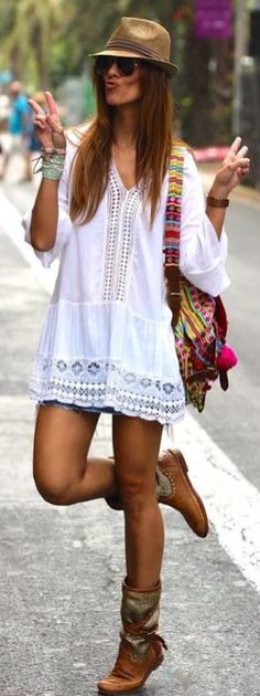 Bohemian-chic look. Love the ethnic bag! Check out our handcrafted Banjara bags at www.be-snazzy.com