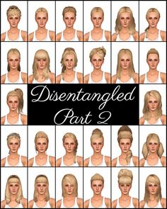 Mod The Sims - Disentangled Part 2 - 26 De-Accessorized, Retextured, & Fixed Up EA Hairs