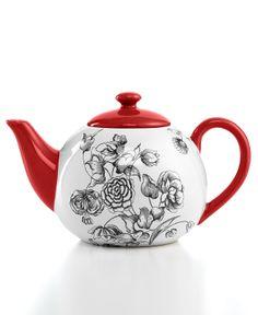 Certified International Drinkware, Toile Teapot - - Macy's