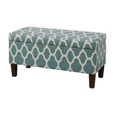 Ottomans are a great way to add versatile function and chic style to any room in your home. A contemporary twist on classic design, this lovely piece will liven up any space. Pairing a quatrefoil lattice pattern in cream white and a dark finish, with a clean-lined design, this eye-catching ottoman is brimming with must-have style. More than just stylish, it also features a hinged top that reveals hidden interior storage space for any of your belongings. Use it by the door with a plush shag…