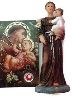 Saint Anthony of Padua Statue & Novena Prayer With Specially Blessed Holy Medal - Holding Baby Jesus and Symbolic White Lily - Patron Saint Of Lost Objects Pearl http://www.amazon.co.uk/dp/B017KHXZUC/ref=cm_sw_r_pi_dp_wyeswb16BMTW6