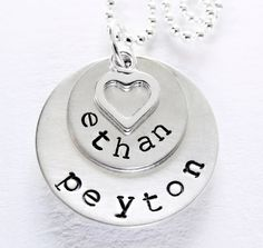 Mom Necklace - Sterling Silver Personalized Necklace - Hand Stamped - Names - Open Heart Charm - Two Times The Love