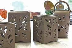 Most recent Photographs clay pottery candle holder Ideas beautiful candle votives! You could make these using the slab pot technique in our studio. Hand Built Pottery, Slab Pottery, Ceramic Pottery, Pottery Art, Thrown Pottery, Pottery Studio, Pottery Bowls, Pottery Painting, Ceramics Projects