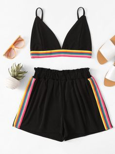 Shop Rainbow Stripe Tape Cami Top With Shorts online. SheIn offers Rainbow Stripe Tape Cami Top With Shorts & more to fit your fashionable needs. Sporty Summer Outfits, Cute Outfits For Kids, Short Outfits, Classy Outfits, Outfits For Teens, Trendy Outfits, Bathing Suit Shorts, Swimsuit With Shorts, Cute Bathing Suits