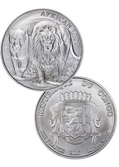 2016 Congo 1 Troy Oz .999 Silver African Lion 5000 Francs Coin SKU38335