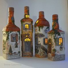 Photo Recycled Glass Bottles, Painted Wine Bottles, Wine Bottle Art, Wine Bottle… - Easy Crafts for All Recycled Glass Bottles, Glass Bottle Crafts, Wine Bottle Art, Painted Wine Bottles, Lighted Wine Bottles, Diy Bottle, Glass Jars, Diy Crafts Slime, Slime Craft