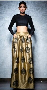 Nikhil Thampi | Gold Gathered Maxi and Cropped Black Top