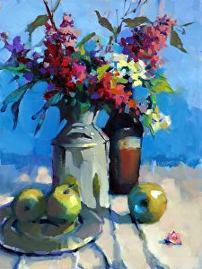 Milk Can with Lilacs by Trisha Adams Oil ~ 24 x 18