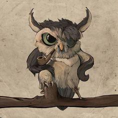 "Owl with Pipe, Pirate / Gufo con pipa, pirata - Art by Mei Yee (myelim on deviantART), ""Pablo"" Owl Bird, Bird Art, Art And Illustration, Owl Tat, Owl Artwork, Owl Pictures, Beautiful Owl, Wise Owl, Tier Fotos"