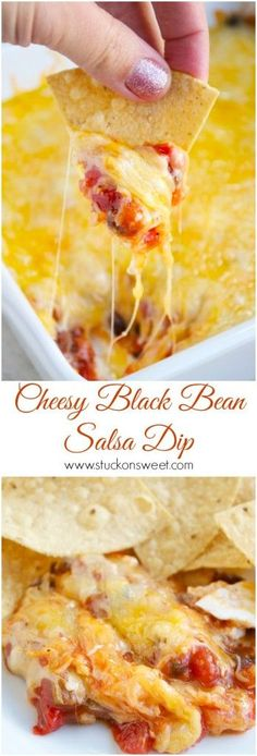 Cheesy Black Bean Salsa Dip. An easy dip to bring to any party or the perfect appetizer for game day! | www.stuckonsweet.com