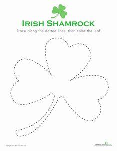 St. Patrick's Day Preschool Holiday Fine Motor Skills Worksheets: Trace & Color Shamrock! Worksheet