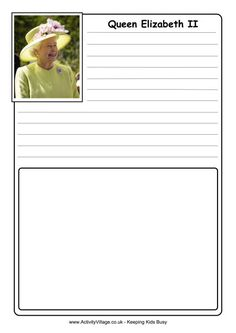 We have two versions of our Queen Elizabeth II notebooking page, one with a box for your child's own illustration or in which to stick a photo or other bits and pieces, and one lined throughout, more suitable for older children. Elizabeth Ii, Kingdom Of Denmark, Love Teacher, Farm Theme, Teacher Hacks, Business For Kids, Program Design, Vacation Trips, Funny Photos