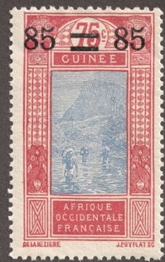 """French Guinea  1925 85c on 75c rose & ultramarine """"Ford at Kitim"""" Ten stamps from the former series were surcharged with new values from 1924-27"""