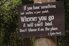 """""""If you have something bad smelling in your pocket, wherever you go it will smell bad. Don't blame it on the place""""."""