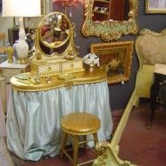 Sale! French style gilt vanity, mirror, and stool – $450 originally $495