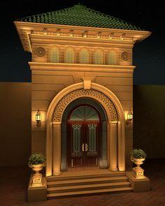Villa Classic Entrance Design on Behance. Villa Design, Gate Design, Window Design, Door Design, Modern Entrance, Entrance Design, House Entrance, Entrance Ideas, Exterior Wall Design