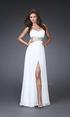 Strapless White Dress by La Femme 16027