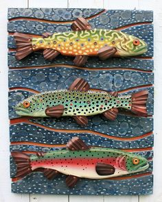 "Three of Rachel's fun fish sculptures in one 18"" x 24"" piece. Folk Art Vermont 