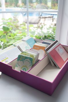 Project Life Pages and Organization ldeas! Store your cards in a tray to make them easy to thumb through.
