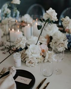 Monochromatic modern wedding inspiration using a black, white and soft blush color scheme Space Wedding, Our Wedding, Wedding Venues, Dream Wedding, Wedding Reception, Reception Table, Floral Wedding, Wedding Flowers, Modern Wedding Inspiration