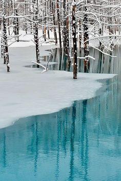 Winter Wonderland- Blue Pond & Spring Snow,Hokkaido by Kent Shiraishi Winter Szenen, Winter Magic, Winter Time, Winter Child, Spring Time, Spring Snow, Japan Photo, Snow Scenes, All Nature