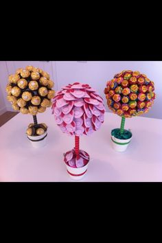 Sweet trees, must be possible to make these look less cheesy? Keep the pots looking rustic and no stick? Maybe a sweet shrub? Sweet Trees, Potted Trees, Something Sweet, Special Day, Really Cool Stuff, Diy Wedding, Diy And Crafts, Centerpieces, Projects To Try