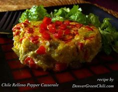 Chile Relleno Pepper Casserole - easy, popular, and the red bell pepper adds color and another flavor dimension!