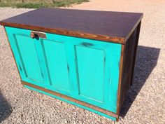 Store counter made out of old door, painted with general finishes patina green & dark chocolate. Wood finished with antique walnut gel stain & coated with high performance topcoat. By Flippin' Junk.