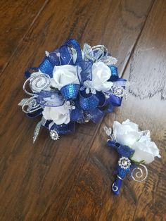 Royal blue and silver prom corsage set from Hen House Designs www.henhousedesigns.net