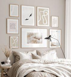Gallery Wall Bedroom, Room Ideas Bedroom, Home Decor Bedroom, White Bedroom Decor, Gallery Walls, Beige Walls Bedroom, Beige Room, Beige Bedrooms, Aesthetic Bedroom